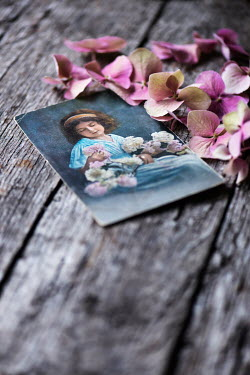 Galya Ivanova PICTURE OF VINTAGE LITTLE GIRL AND FLOWERS Miscellaneous Objects
