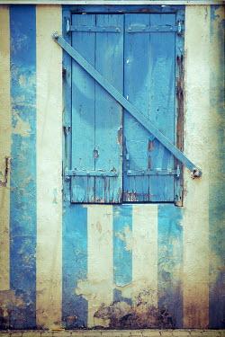 Irene Lamprakou BLUE STRIPY WOODEN WINDOW SHUTTERS Building Detail