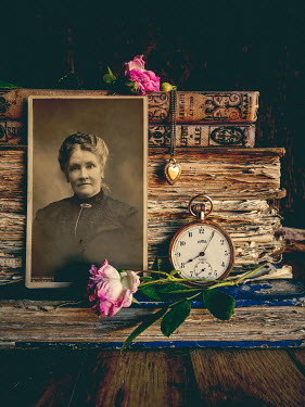 Jane Morley OLD PHOTOGRAPH WITH BOOKS, NECKLACE, ROSES AND WATCH Miscellaneous Objects