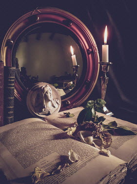 Jane Morley BOOKS, CANDLE, MIRROR, WITHERED ROSE AND SCULPTURE Miscellaneous Objects