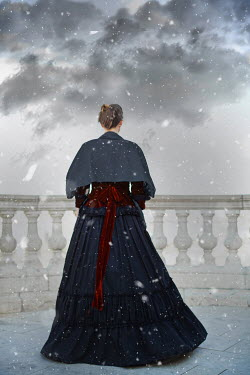 Ildiko Neer victorian woman on terrace in stormy weather Women