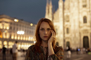 Elisa Paci GIRL OUTSIDE IN GRAND PIAZZA AT NIGHT Women