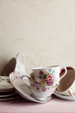 Amy Weiss FLORAL CHINA TEA CUPS KNOCKED OVER Miscellaneous Objects