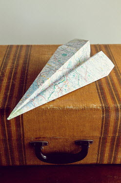 Isabelle Lafrance PAPER PLANE ON VINTAGE SUITCASE Miscellaneous Objects