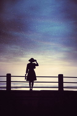 Susan Fox SILHOUETTE OF WOMAN  BY SEA AT NIGHT Women