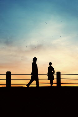 Susan Fox SILHOUETTE OF RETRO COUPLE AT SUNSET Couples