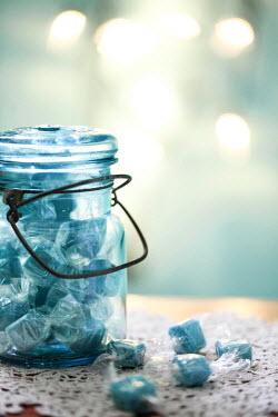 Jean Ladzinski BLUE SWEETS IN GLASS JAR Miscellaneous Objects