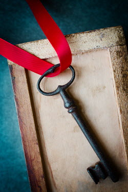 Laura Ranftler OLD KEY IN BOX WITH RED RIBBON Miscellaneous Objects