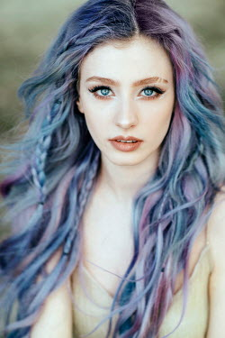 Jovana Rikalo YOUNG WOMAN WITH LONG PURPLE AND BLUE HAIR Women