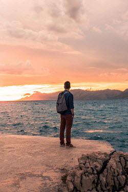 Nina Masic MAN WATCHING SUNSET AT SEA Men