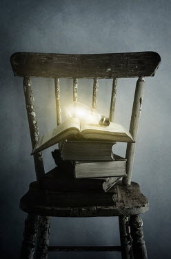 Amy Weiss LIGHTBULB ON BOOKS ON OLD CHAIR Miscellaneous Objects