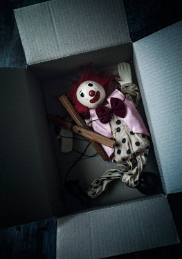 Amy Weiss CLOWN PUPPET IN CARDBOARD BOX Miscellaneous Objects