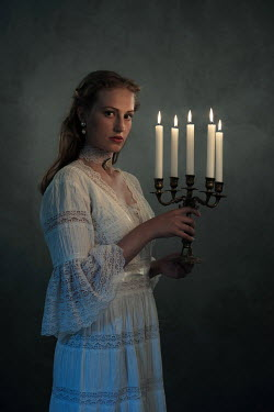 Ysbrand Cosijn YOUNG HISTORICAL WOMAN HOLDING CANDLES Women