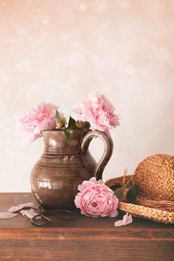 Sandra Cunningham FLOWERS, JUG, SCISSORS AND HAT ON TABLE Flowers