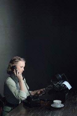 Ysbrand Cosijn 1940'S WOMAN ON TELEPHONE WITH TYPEWRITER Women