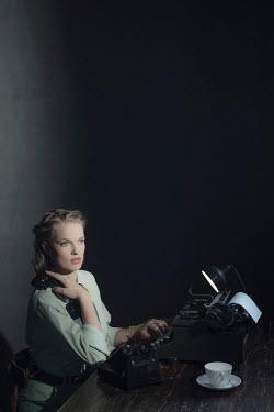 Ysbrand Cosijn WWII WOMAN ON TELEPHONE WITH TYPEWRITER Women