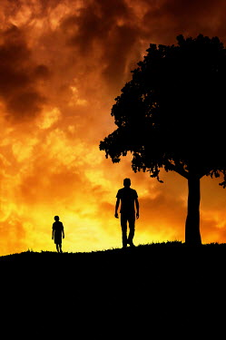 Valentino Sani SILHOUETTES OF FATHER AND SON AT SUNSET BY TREE Men