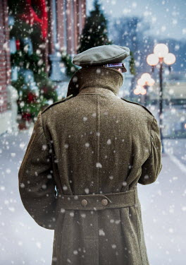 Elisabeth Ansley SOLDIER IN UNIFORM WALKING IN SNOWY STREET Men