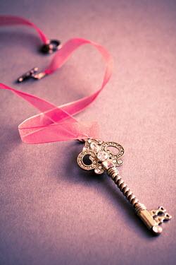 Jan Bickerton Ornate key on pink organza ribbon Miscellaneous Objects