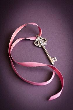 Jan Bickerton Ornate key on pink ribbon Miscellaneous Objects
