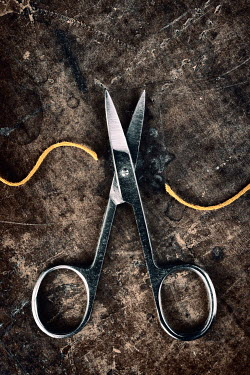 Clayton Bastiani SCISSORS CUTTING YELLOW THREAD Miscellaneous Objects