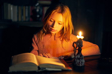 Alexander Vinogradov LITTLE GIRL READING BOOK BY CANDLELIGHT Children