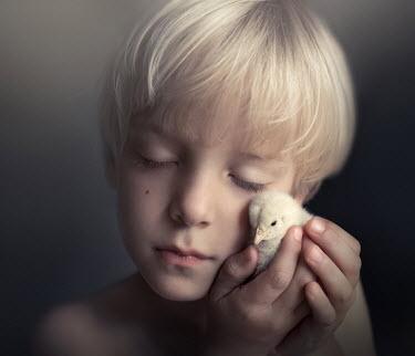Sveta Butko LITTLE BLOND BOY HOLDING FLUFFY CHICK Children