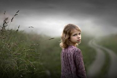 Sveta Butko LITTLE GIRL ON RAINY COUNTRY PATH Children