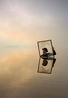 Leszek Paradowski SURREAL MAN WITH BROKEN FRAME IN SEA Men