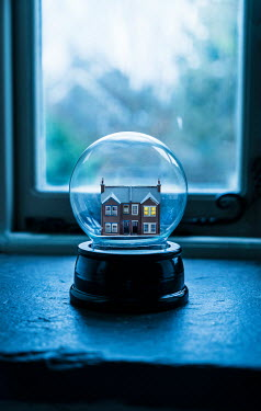 Stephen Mulcahey a miniature house in a glass globe Miscellaneous Objects