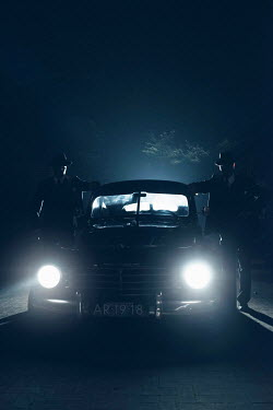 Ysbrand Cosijn RETRO CAR WITH TWO MEN AT NIGHT Men