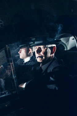 Ysbrand Cosijn TWO RETRO MEN IN CAR AT NIGHT SMOKING Men