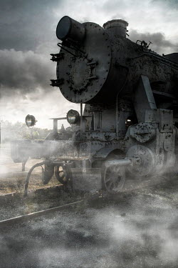 Jaroslaw Blaminsky CLOSE UP OF OLD TRAIN IN FOG Railways/Trains