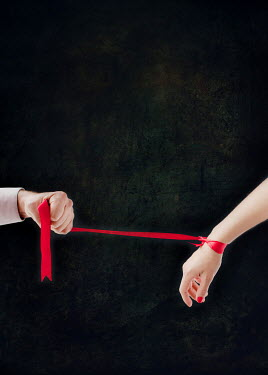 Svetlana Bekyarova MAN PULLING WOMAN'S HAND WITH RED RIBBON Couples