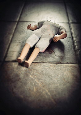 Lyn Randle HEADLESS DOLL LYING ON FLAGSTONES Miscellaneous Objects