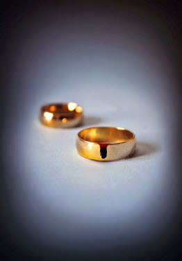 Lyn Randle TWO GOLD WEDDING RINGS WITH BLOOD Miscellaneous Objects