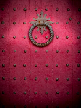 Trevor Payne MEDIEVAL PINK DOOR WITH METAL HANDLE AND RIVETS Building Detail