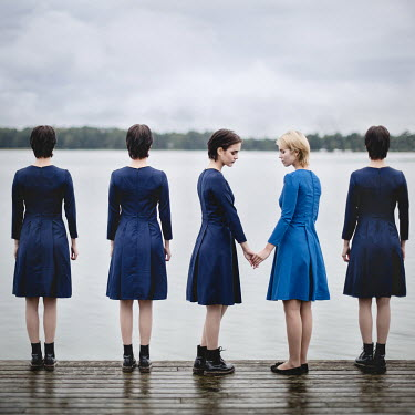 Dasha Pears FIVE SURREAL WOMEN STANDING BY LAKE Groups/Crowds