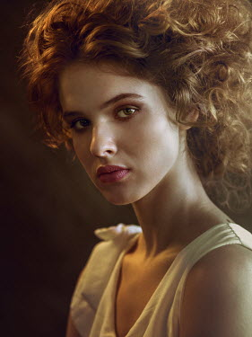 Michal Zahornacky SERIOUS WOMAN WITH CURLY AUBURN HAIR Women