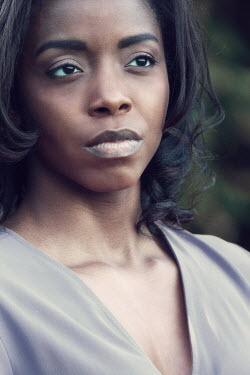 Magdalena Russocka CLOSE UP OF THOUGHTFUL BLACK WOMAN Women
