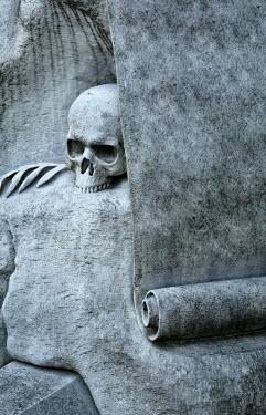 Jaroslaw Blaminsky SKULL AND SCROLL CARVED IN STONE Statuary/Gravestones