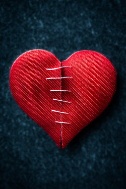 Laura Kate Bradley BROKEN RED HEART WITH STITCHES Miscellaneous Objects