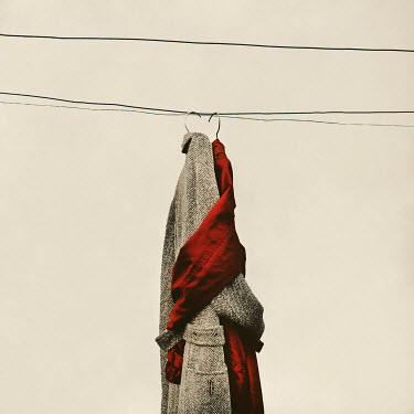 Oana Stoian TWO ENTWINED COATS HAGING ON WIRES Miscellaneous Objects