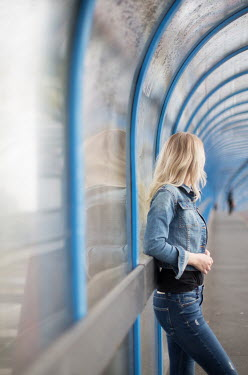 Holly Leedham BLONDE GIRL WAITING IN MODERN TUNNEL Women