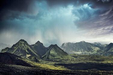 Evelina Kremsdorf VOLCANIC MOUNTAINS WITH STORMY SKY Rocks/Mountains