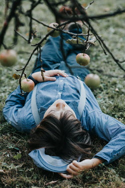Des Panteva BOY LYING ON GRASS UNDER APPLE TREE Children