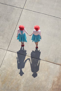 Susan Fox RETRO TWINS HOLDING HANDS FROM ABOVE Women