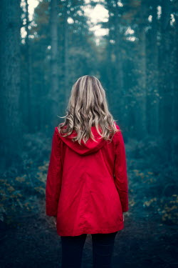 Laura Ranftler BLONDE WOMAN IN RED WATCHING FOREST Women
