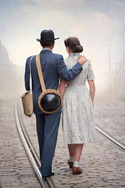 Lee Avison WARTIME COUPLE WALKING ON TRAMLINES Couples