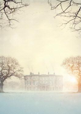 Lee Avison historical stately home in winter at sunset Houses